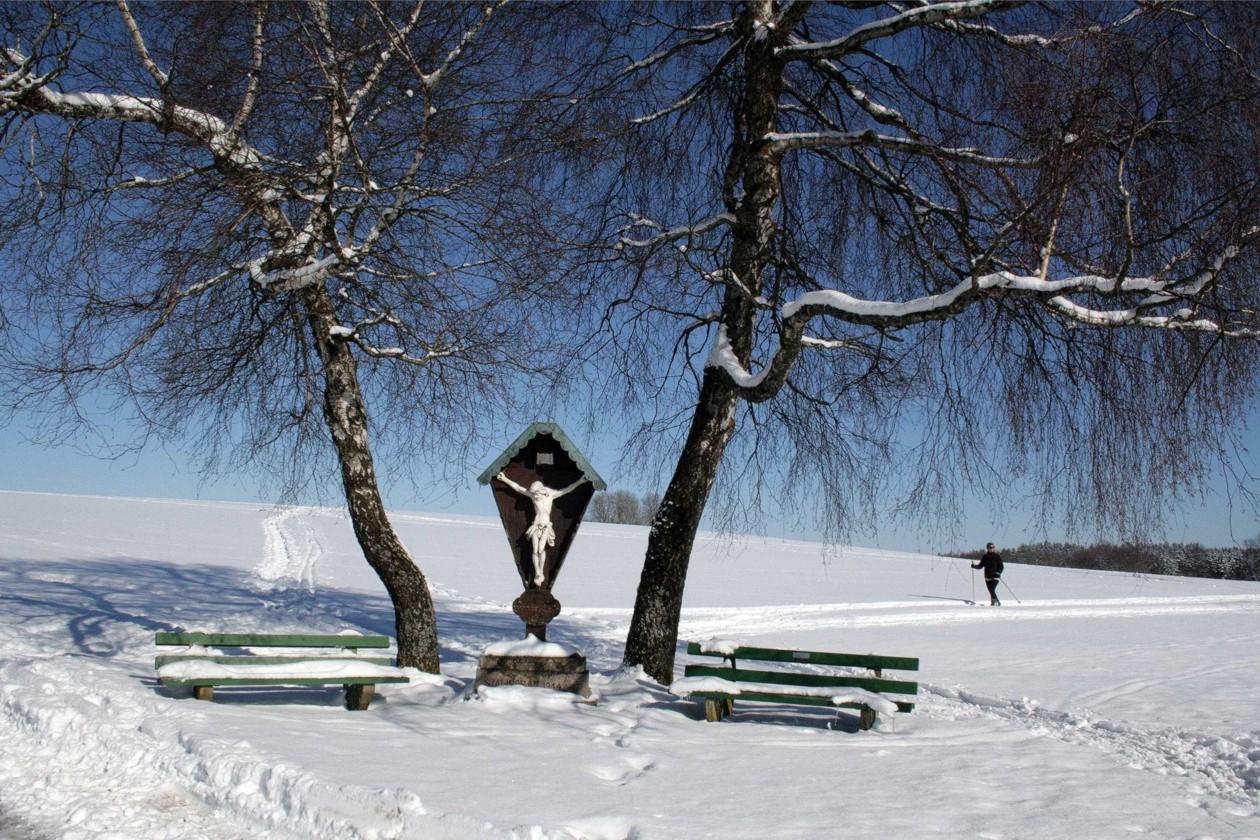 Amalienhöhe mit Skifahrerin