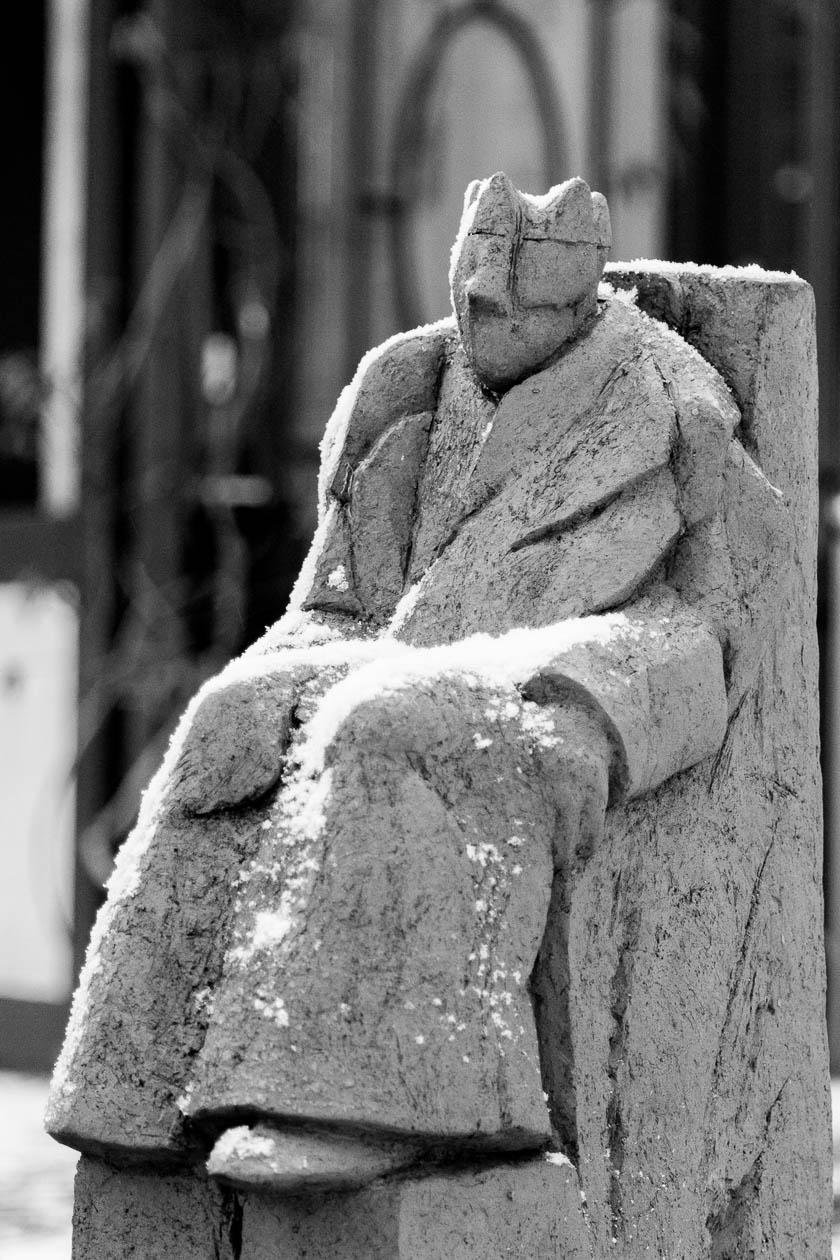 Beschneite Skulptur