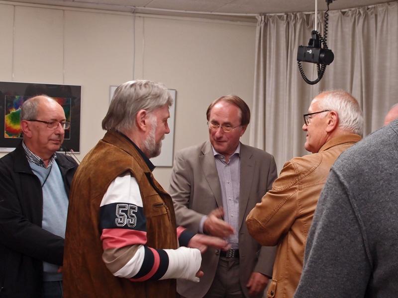 Bürgermeister Lamm im Gespräch mit Aldo Massenz, Norbert Sand und Helmut Kienzler